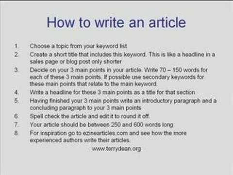 sample of how to write a summary of an article