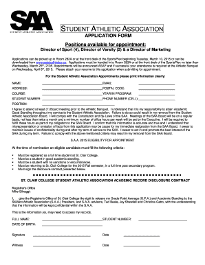 saa application forms 2019