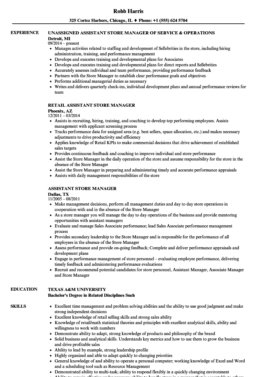 resume sample for shop assistant