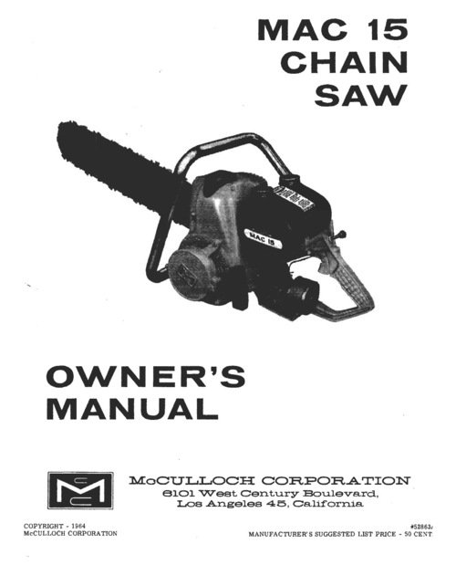 oners manual for a mcculloch 3200 chain saw