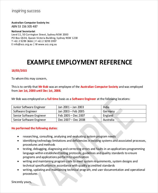 recommendation letter for visa application from employer