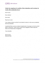 return to work letter after maternity leave from employer sample