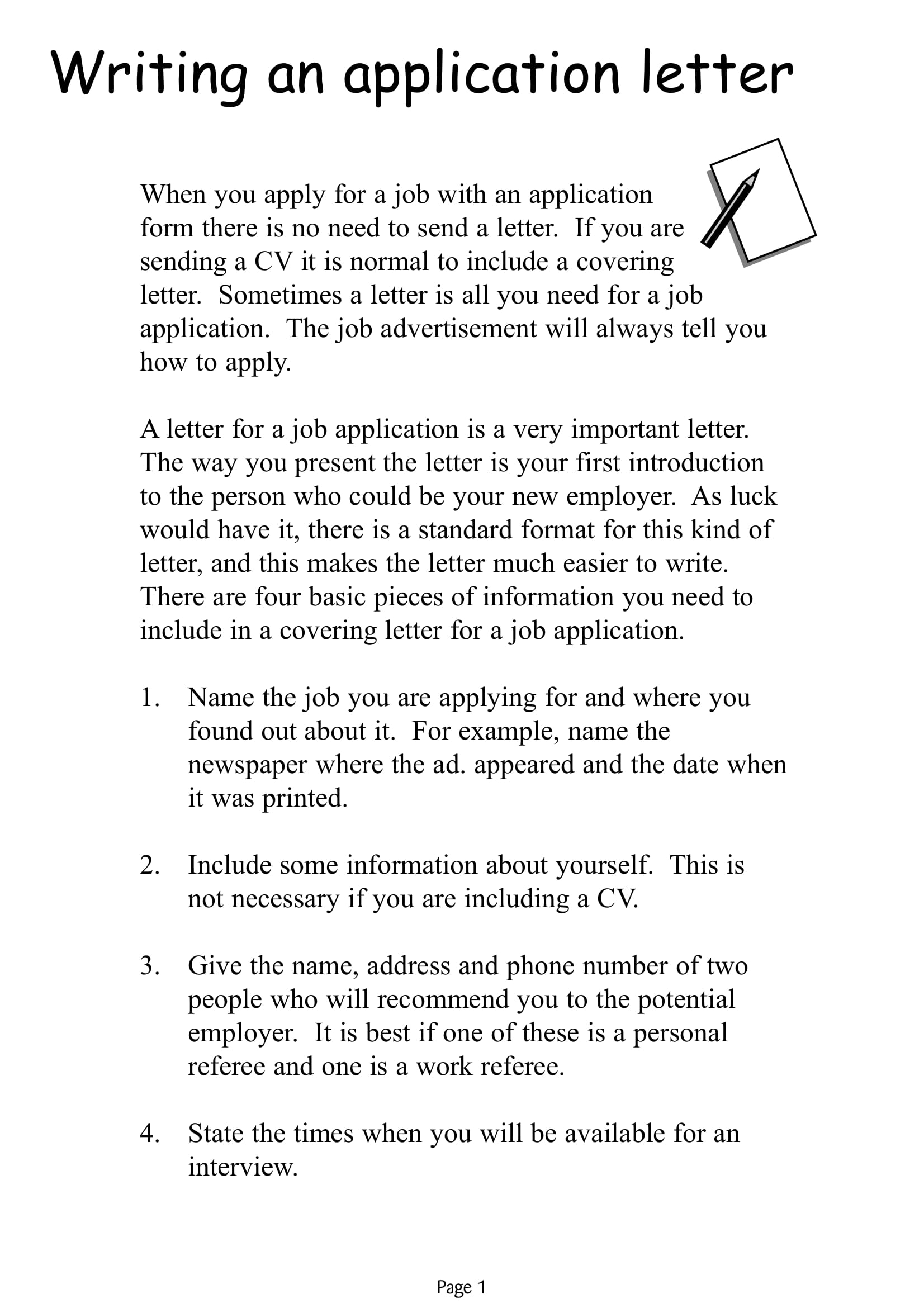 writing application form example
